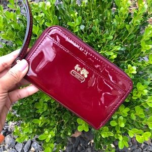 Coach patent leather wallet.